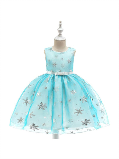 Girls Magical Snowflake Holiday Special Occasion Dress (Pink & Blue) - Sky Blue / 3T - Girls Fall Dressy Dress