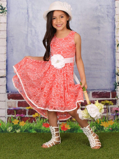 Girls Mango Crochet Lace Hi-Lo Twirl Boho Dress with Crochet Detail - Girls Spring Dressy Dress