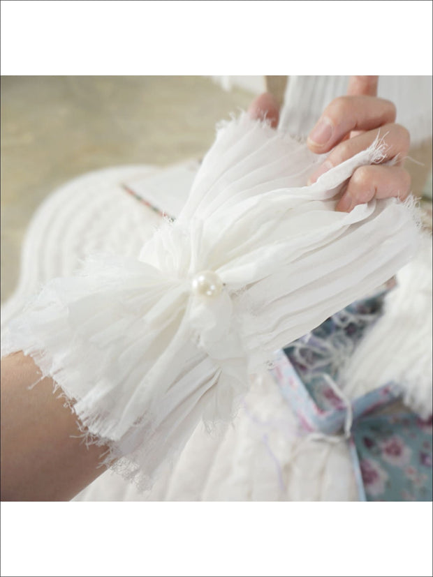 Girls Marie Antoinette Inspired Pleated Collar Bib and Wrist Cuffs - Girls Halloween Costume