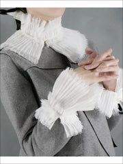 Girls Marie Antoinette Inspired Pleated Collar Bib and Wrist Cuffs - One Collar / White - Girls Halloween Costume
