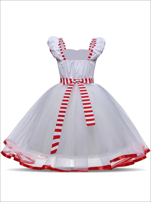 Girls Mary Poppins Inspired Striped Halloween Costume with Lace Gloves - Girls Halloween Costume