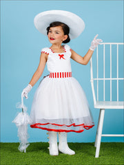 Girls Mary Poppins Inspired Striped Halloween Costume with Lace Gloves - White / 2T - Girls Halloween Costume