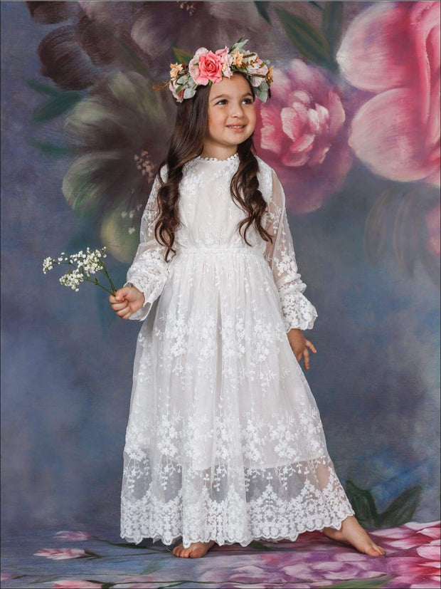 Girls Maxi Elegant Lace Dress - White / 4T/5Y - Girls Spring Casual Dress