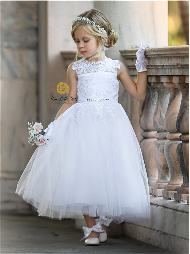 Girls Maxi Sleeveless Lace Open Back Communion Flower Girl & Pageant Party Dress - Girls Flower Girl Dress