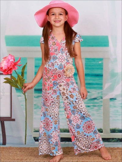 Girls Medallion Print Flutter Sleeve Palazzo Pants Jumpsuit with Taupe Rhinestone Pearl Flower Clip - Girls Jumpsuit