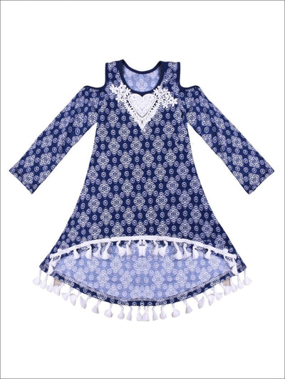 Girls Medallion Print Hi-Lo Long Sleeve Cold Shoulder Tunic with Crochet Heart Collar & Tassel Hem - Blue / 2T/3T - Fall Low Stock