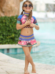 Girls Medallion Print Rash Guard Skirted Bottom Two Piece Swimsuit - Girls One Piece Swimsuit