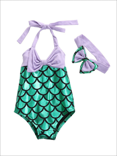 Girls Mermaid Bow Tie Swimsuit with Matching Headband