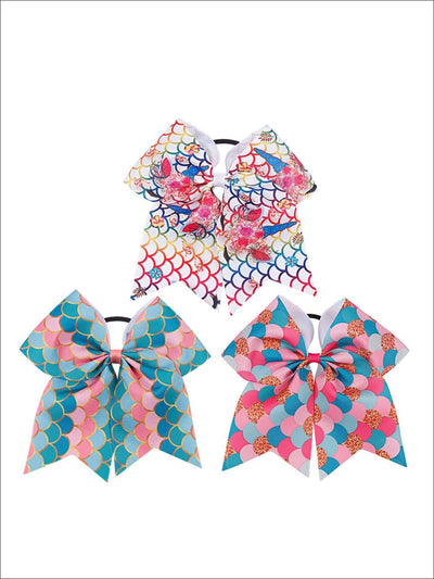 Girls Mermaid Cheer Bow Ribbon Hair Clips - Hair Accessories