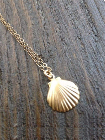 Girls Mermaid Gold Seashell Necklace - Girls Halloween Costume