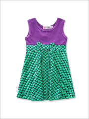 Girls Mermaid Green & Purple Bow Dress - Girls Spring Casual Dress