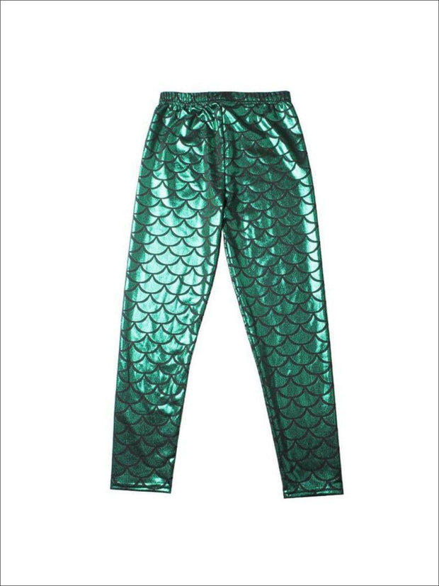 Girls Mermaid Leggings - Green / 3T/4T - Girls Leggings