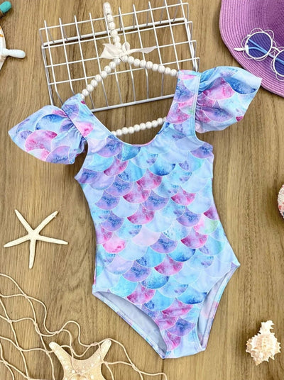 Girls Mermaid Scales Flutter Sleeve Back Bow One Piece Swimsuit - Blue / 3T/4T - Girls Mermaid Swimsuit