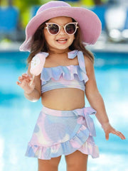 Girls Mermaid Scales Print Ruffled Top and Wrap Skirt Two Piece Swimsuit - Rainbow / 3T/4T - Girls Mermaid Swimsuit