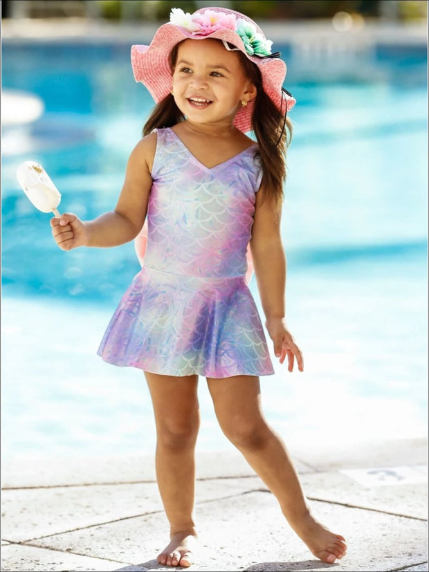 Girls Mermaid Scales Print Skirted One Piece Swimsuit - Girls Mermaid Swimsuit