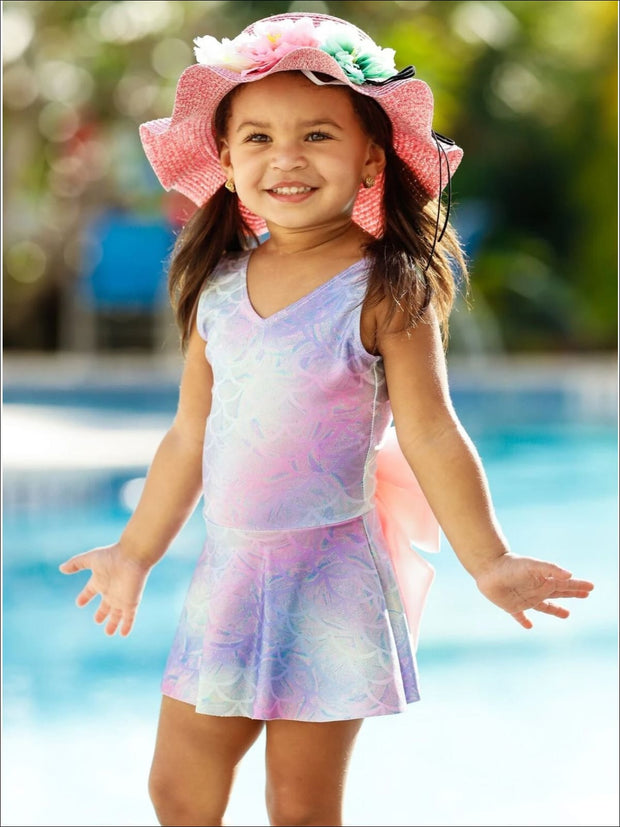 Girls Mermaid Scales Print Skirted One Piece Swimsuit - Rainbow / 2T/3T - Girls Mermaid Swimsuit