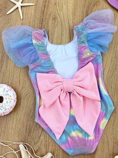 Girls Mermaid Scales Ruffled Flutter Sleeve Back Bow One Piece Swimsuit - Girls Mermaid Swimsuit