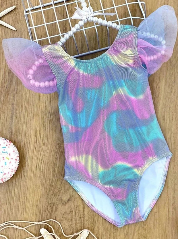Girls Mermaid Scales Ruffled Flutter Sleeve Back Bow One Piece Swimsuit - Rainbow / 3T/4T - Girls Mermaid Swimsuit