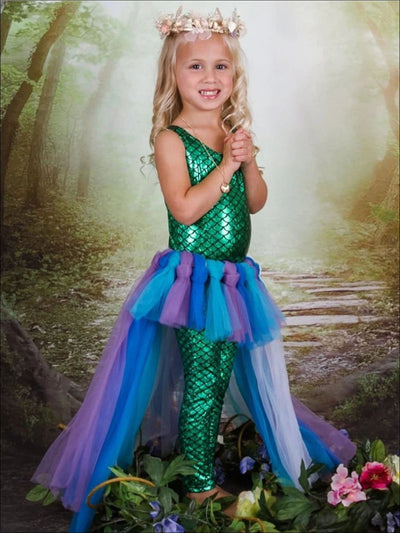 Girls Mermaid Tulle Skirt & Fish Scale Leotard Halloween Costume - Girls Halloween Costume