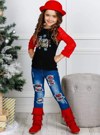 Girls Merry and Bright Lace Graphic Top and Ripped Jeans Set - Girls Christmas Set