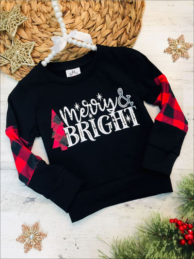 Girls Merry and Bright Plaid Color Block Top - Black / 2T - Girls Christmas Top