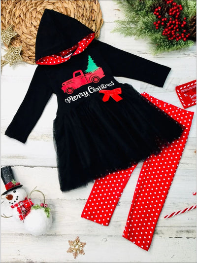 Girls Merry Christmas Truck Peplum Tutu Hoodie and Polka Dot Leggings Set - Black / 2T - Girls Christmas Set