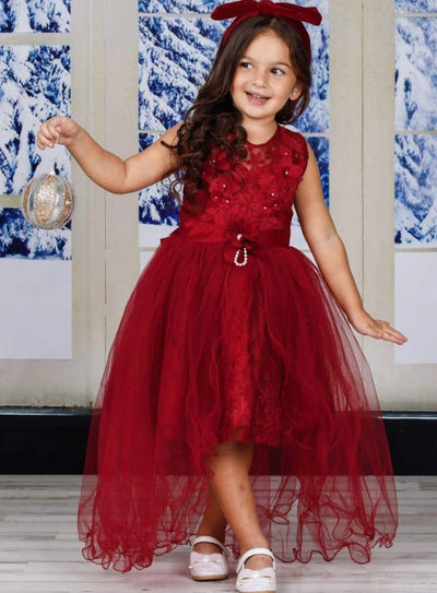 Girls Mesh Floral Applique Hi-Low Holiday Dress - Girls Fall Dressy Dress