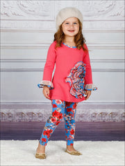 Girls Mesh Flower Ruffled Tunic & Floral Leggings Set - Girls Spring Dressy Set