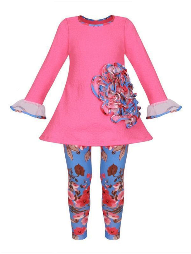 Girls Mesh Flower Ruffled Tunic & Floral Leggings Set - Pink / 2T/3T - Girls Spring Dressy Set