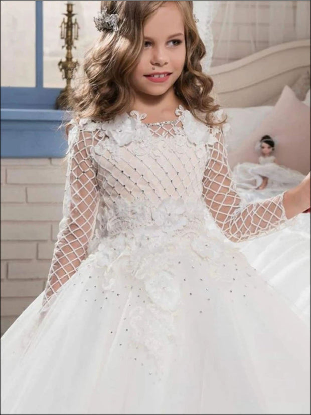 Girls Mesh Long Sleeve Flower Applique Crystal Embroidered Flower Girl Dress - Girls Gowns