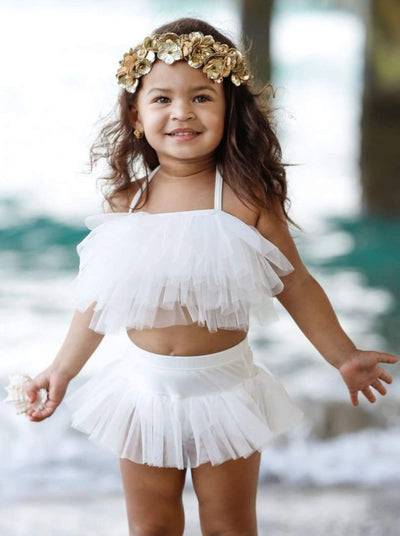 Girls Mesh Ruffled Skirted Angel Wings Two Piece Swimsuit - White / 3T - Girls Two Piece Swimsuit