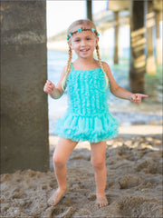 Girls Mesh Ruffled Skirted Tutu One Piece Swimsuit - Girls One Piece Swimsuit