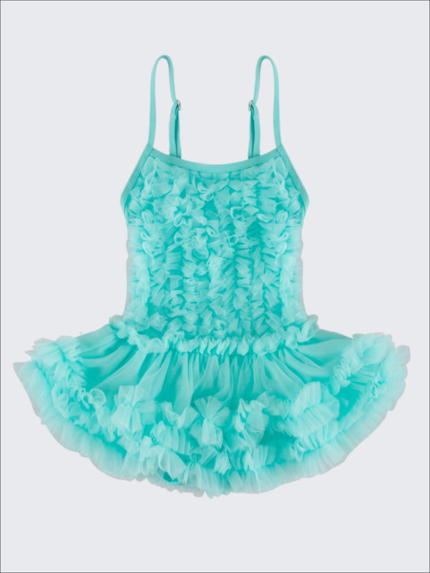 Girls Mesh Ruffled Skirted Tutu One Piece Swimsuit - Blue / 2T - Girls One Piece Swimsuit