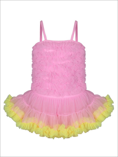 Girls Mesh Ruffled Skirted Tutu One Piece Swimsuit - Pink / 2T/3T - Girls One Piece Swimsuit