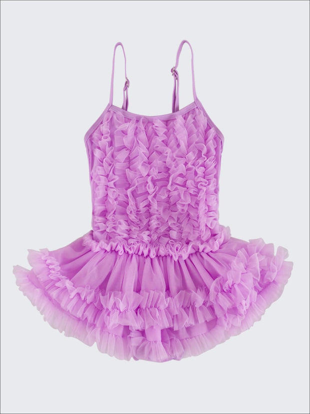 Girls Mesh Ruffled Skirted Tutu One Piece Swimsuit - Purple / 2T/3T - Girls One Piece Swimsuit