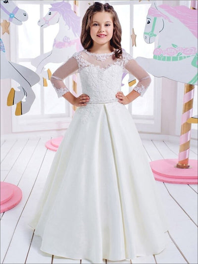 Girls Mesh Sleeved Communion Gown - White / 2T - Girls Gowns