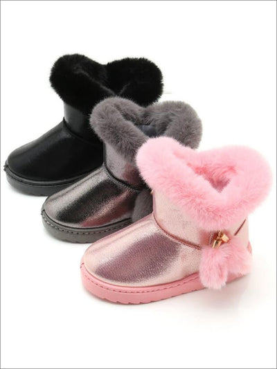 Girls Metallic Faux Fur Trimmed Winter Booties - Girls Boots