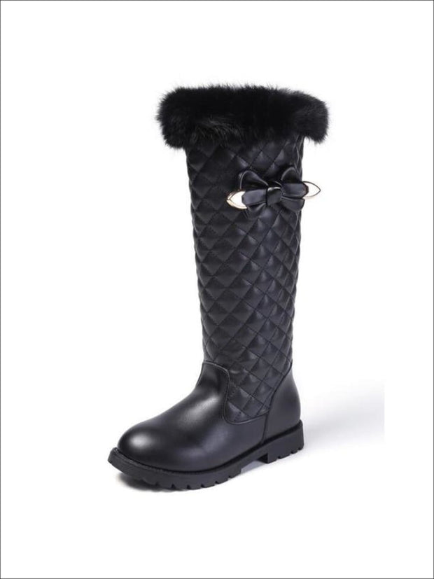 Girls Mid-Calf Faux Fur Trimmed Bow-Tie Quilted Princess Boots - Black / 1 - Girls Boots