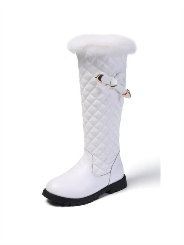 Girls Mid-Calf Faux Fur Trimmed Bow-Tie Quilted Princess Boots - White / 1 - Girls Boots