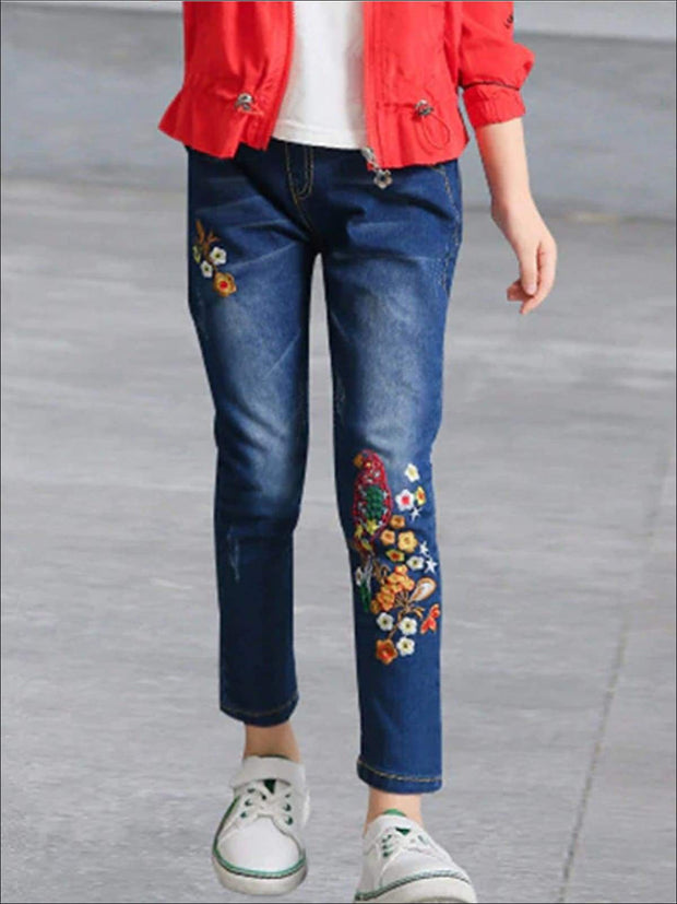 Girls Mid Wash Flower Embroidered Jeans - Girls Jeans