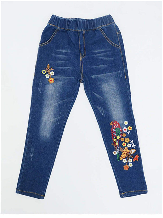 Girls Mid Wash Flower Embroidered Jeans - Blue / 3T - Girls Jeans