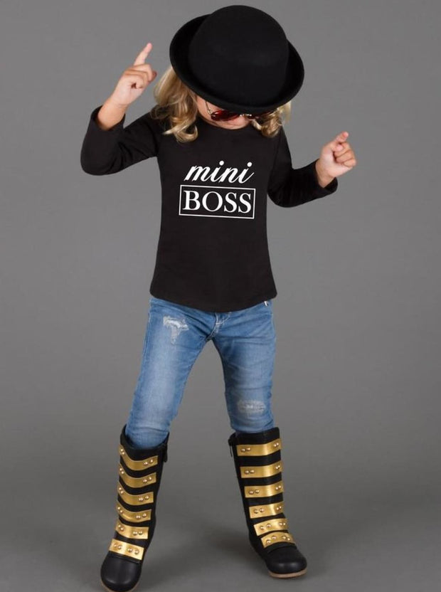 Girls Mini Boss Long Sleeve Graphic Statement Top - Girls Fall Top