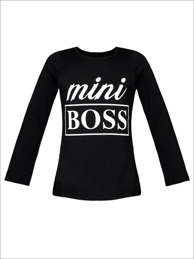 Girls Mini Boss Long Sleeve Graphic Statement Top - Black / 2T/3T - Girls Fall Top