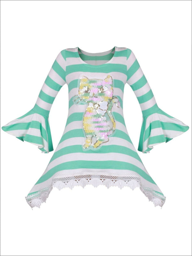 Girls Mint & Creme Striped Long Bell Sleeve Crochet Hem Tunic with Sequin Cat Applique - Girls Fall Top