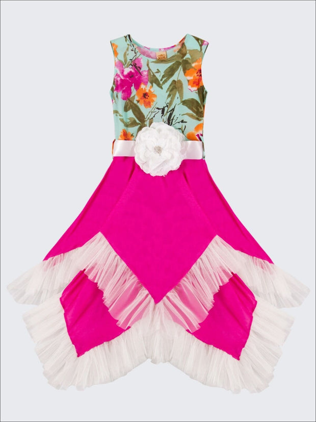 Girls Mint Floral & Fuchsia Handkerchief Dress - Girls Spring Dressy Dress