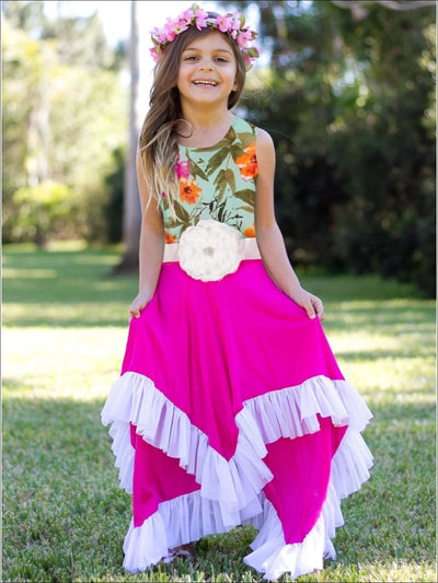 Girls Mint Floral & Fuchsia Handkerchief Dress - Floral/Fuchsia / 2T/3T - Girls Spring Dressy Dress