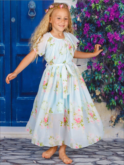 Girls Mint Floral Maxi Dress With Sash - Mint / 2T/3T - Girls Spring Dressy Dress