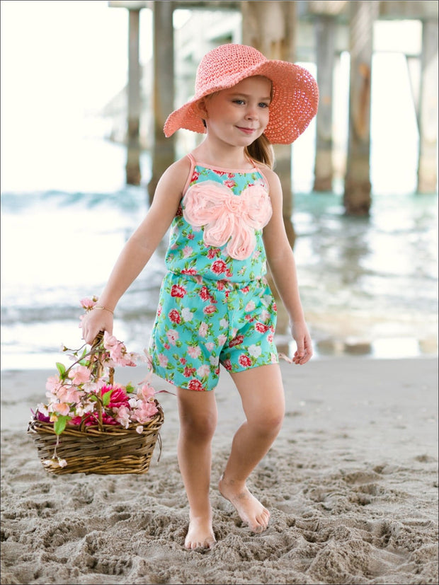 Girls Mint Floral Romper w/Large Pink Bow Trim - Girls Jumpsuit