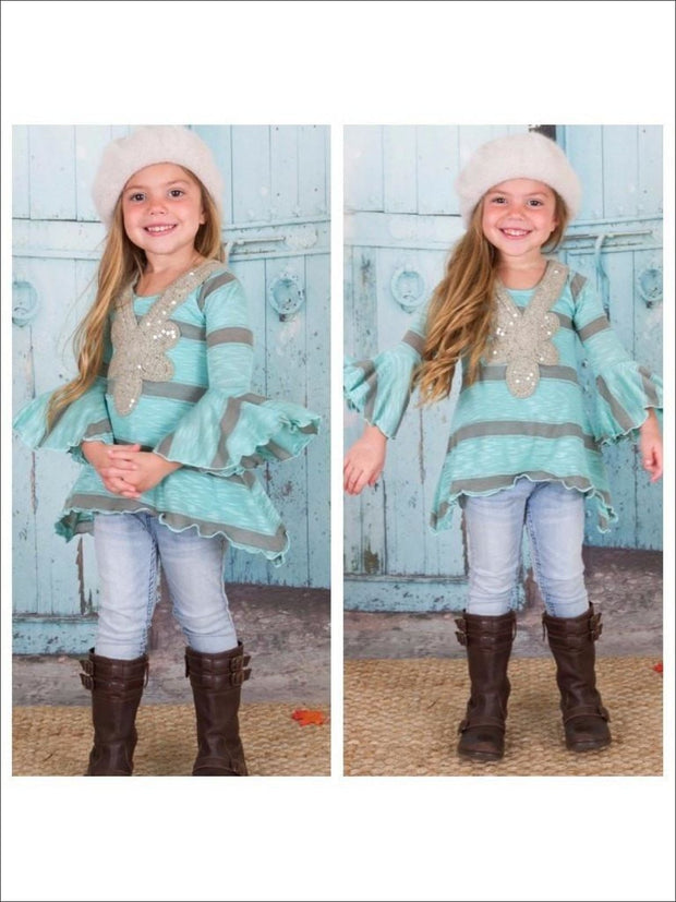 Girls Mint & Gold Stripe Boho Sidetail Tunic - Girls Fall Top
