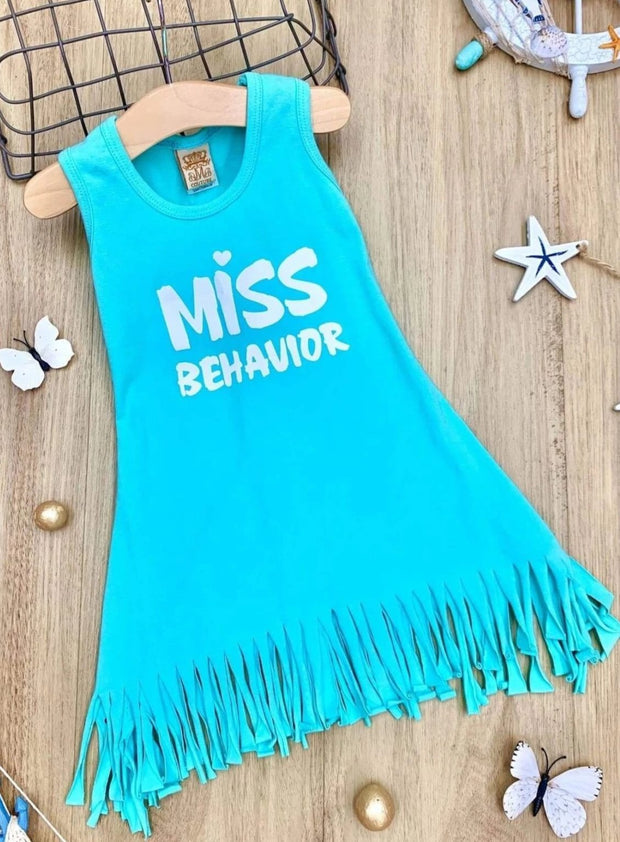 Girls Mint Graphic Fringe Dress (2 Options) - Girls Spring Casual Dress